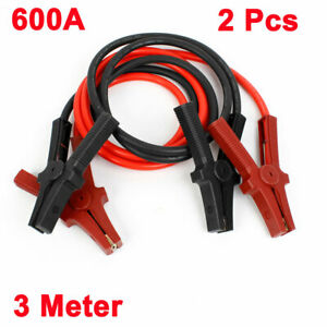 2meter 600a Alligator Battery Booster Clips Jumper Cable Red Black 2 Pcs