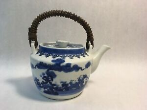 Antique Hand Painted Japanese Blue Ceramic Tea Pot W Lid And Wicker Handle
