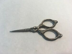 Antique German Hallmarked Sterling Silver Sewing Scissors Thread Clippers