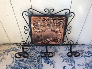 Vintage French Wrought Iron Hat Coat Hooks With Copper Plaque 1197