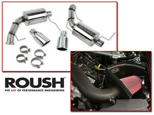 2011 2014 Mustang V6 3 7 Roush Cold Air Intake Kit Axle Back Muffler Exhaust