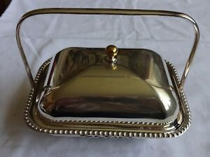 Vintage Silver Plated Handled Butter Dish With Glass Liner Height 5 X 6