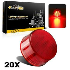 20 Submersible Red Led 2 Round Clearance marker Lights Trailer Rv Free Ship