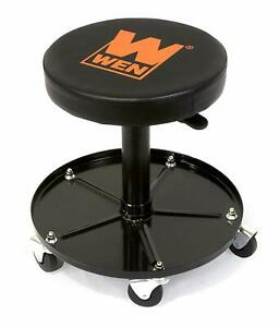 Wen Rolling Mechanic Stool 300 Lb Capacity Pneumatic Adjustable Work Shop Seat
