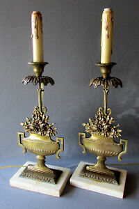 Pair Antique 19th Century Brass Girandole Electrified Candlestick Lamps 1860