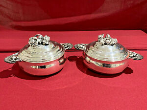 Georg Jensen Sterling Covered Serving Dishes Pair 417