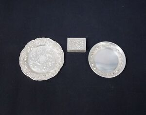 Vintage Lot 3 Kirk Stieff Sterling Silver Repousse Dishes Matchbook Cover