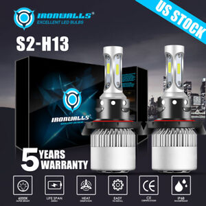 2x Ironwalls H13 9008 Led Headlight Conversion Kit High Low Beam White 6000k