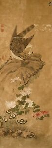 Antique Japanese Hanging Scroll Painting Of Eagle Hawk Kano School