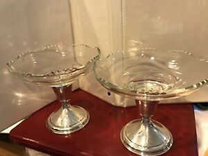 Sterling Silver Weighted Glass Candy Dish Converts To Candle Holder 2 Available