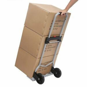 220lbs Cap Folding Hand Truck Flat Free Wheels Portable Heavy Duty Cart New