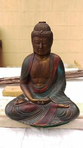 Rare Antique Armor Bronze Clad Large Buddha Lamp Base