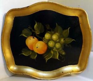 Antique Vtg Artist Signed Tole Ware Painting On 10 X12 Paper Mache Tray