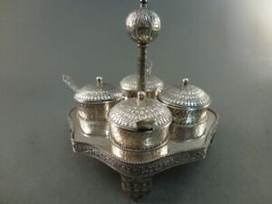 Eastern Silver Pickle Dish Set Wtih Stand