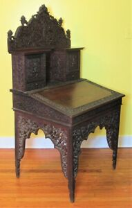 Rare Mid 19th Anglo Indian Hand Carved Davenport Desk C 1870 Antique English