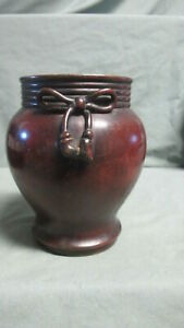 Antique Asian Bronze Vase With Bow And Dragon On The Bottom