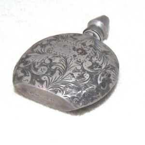 Antique French Sterling 950 Silver Miniature Perfume Bottle Flask Engraved