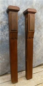 2 Wood Finials Posts Furniture Parts Architectural Salvage Reclaimed Vintage A