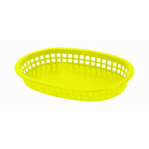 144 Pieces Large Plastic 10 3 4 Fast Food Basket Baskets Tray Yellow Plbk1043y