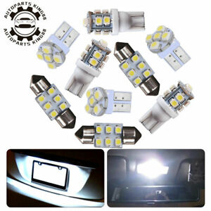 8x White Led Bulb Interior Package Kit T10 30mm 31mm Festoon Dome Map Lights