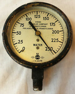 Vintage Viking Sprinkler Co Of Pennsylvania Water Gauge 250 Psi Steampunk Decor
