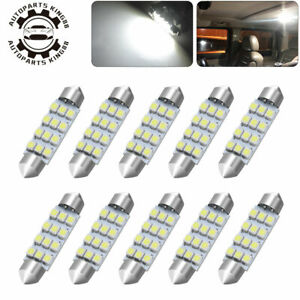 10x Super White 44mm12 Smd Festoon Led Dome Map Interior Light Bulbs 211 2 212 2