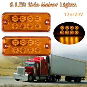 2x Yellow 8 Led Side Maker Lights Lamps Trailer Truck Recovery Position 12v