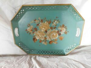 Vintage Handpainted Signed Tole Toleware Roses Flowers Aqua French Teal Tray Old