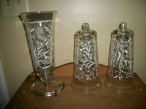Vintage Three Heavy Clear Glass White Embossed Epergne Vases One Base