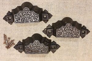 3 Old Bin Drawer Pulls Door Handles 4 1 8 Vintage 1872 Patent Rustic Cast Iron