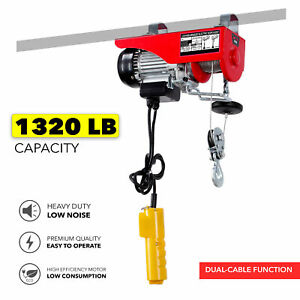 1300 Lbs Electric Wire Hoist Remote Control Garage Auto Shop Overhead Cable Lift
