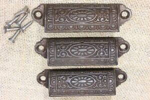 3 Old Bin Drawer Pull Cup Handle Egg Dart Daisy 3 3 4 Cast Iron Vintage
