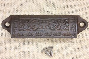 Old Bin Drawer Pull Cup Handle Egg Dart Daisy 4 1 4 Cast Iron Vintage Antique