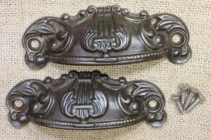 2 Bin Drawer Pulls Handles 4 1 4 Harp Ferns Rustic Old Cast Iron Vintage 1800 S