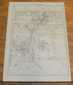 1885 Antique Color Map New Mexico United States