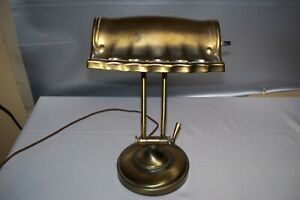 Vintage Brass Adjustable Piano Bankers Desk Lamp Works Great