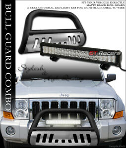 Matte Blk Bull Bar Guard Skid 120w Cree Led Light For 05 07 Jeep Grand Cherokee