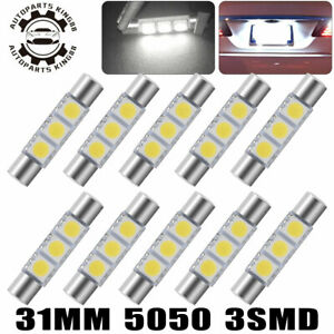 10x Pure White 30mm 31mm 5050 3smd Led Fuse Vanity Mirror Light Bulbs 6641 6614f