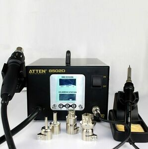 2 In 1 900w Atten At 8502d Dual Lcd Hot Air Rework Iron Soldering 220v