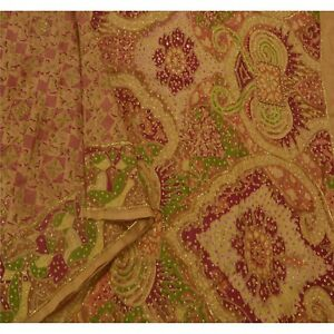 Sanskriti Vintage Cream Saree Pure Silk Hand Beaded Craft Fabric Ethnic Sari