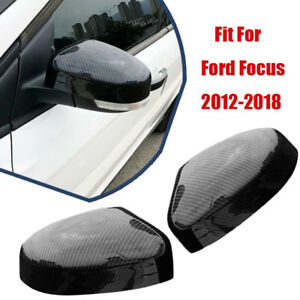 Carbon Fiber Rearview Side Mirrors Cover Trim For Ford Focus 2012 2018 Abs