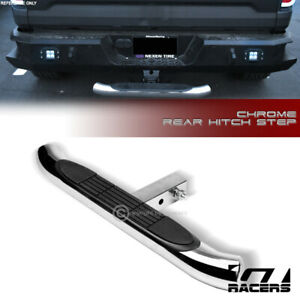 2 Chrome Trailer Tow Mount Tube Receiver Rear Hitch Step Bar Bumper Guard G23
