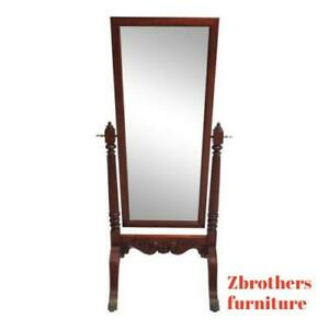 Ethan Allen 18th Century Mahogany Claw Foot Cheval Dresser Fitting Mirror B
