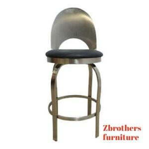 Vintage Mid Century Metal Scoop Back Industrial Bar Counter Drafting Stool Chair