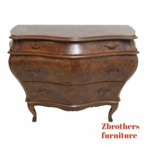 Vintage Italian Bombay Commode Burl Wood Chest Dresser Regency