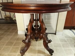 Antique Victorian Walnut Parlor Table Hall Or Center Table Antique Carved Table