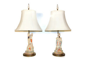 Pair Hollywood Regency Decorated Painted Chinoisire Lamps Brass Filligree Bases