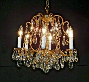 Antique French 6 Arm 6 Lite Brass Bronze Cut Lead Crystal Birdcage Chandelier