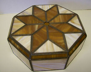 Antique Arts Crafts Octagon Art Deco Stained Glass Lamp Light Shade Star Burst