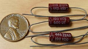 3 Good all 600ue 018uf 100v Molded Tubular Mylar Capacitors Nos Guitar Tone